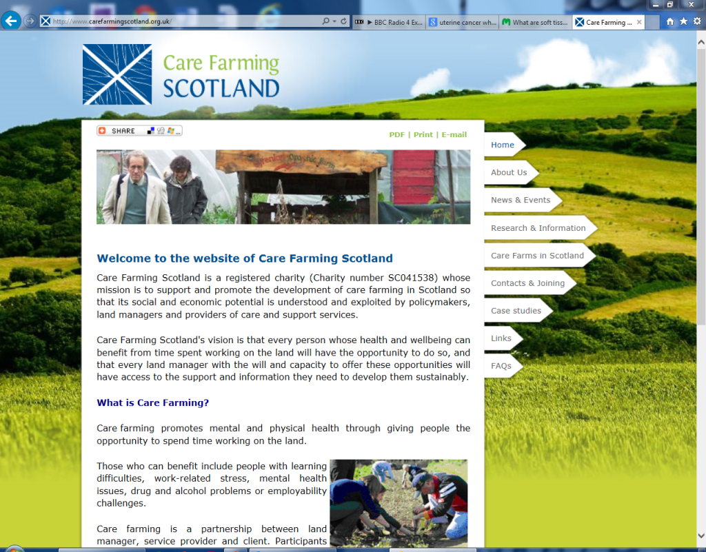 care farming scotland old homepage