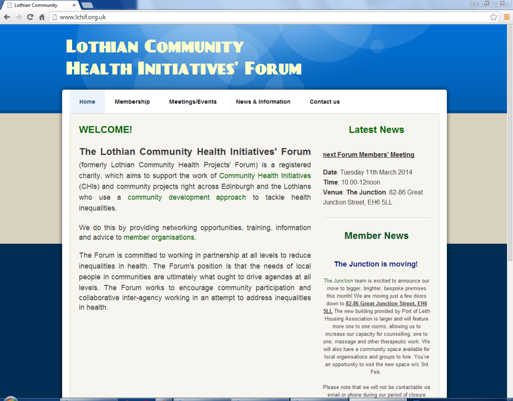 lothain community health initiative old homepage