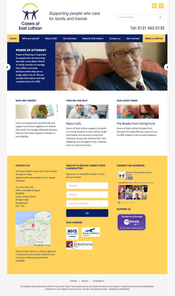 carers of east lothian new homepage